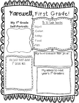 End of Year Memory Page -- First Grade