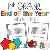 End of the Year 1st Grade Letters from Teacher to Student