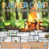 End of the Year Activities 3rd & 4th Camping Theme Math, ELA, Writing, Science