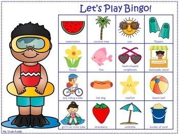 End of the Year Activities: Summer Bingo Game