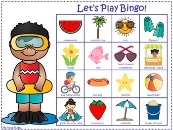 End of the Year Activities: Summer Bingo Game (Last Day of School)