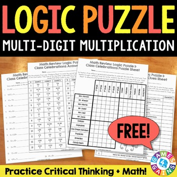 FREE Multi Digit Multiplication Logic Puzzle {4.NBT.5, 5.NBT.5}
