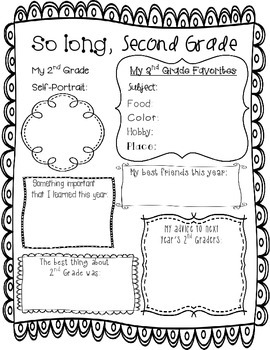 End of Year Memory Page -- Second Grade