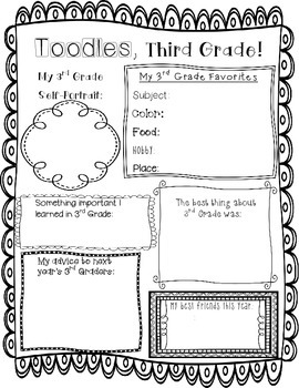 End of Year Memory Page -- Third Grade