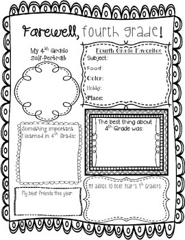 End of Year Memory Page -- Fourth Grade