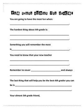 End of the Year 4th grade Writing Activity