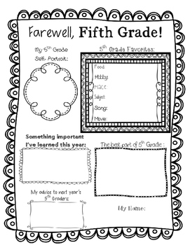 End of Year Memory Page -- Fifth Grade