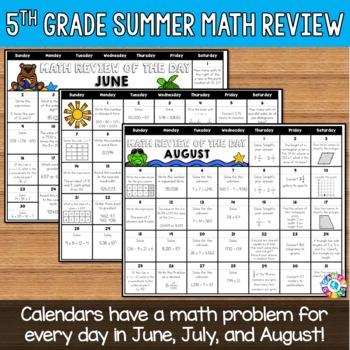 End of the Year 5th Grade Math Review: Summer Problem of the Day