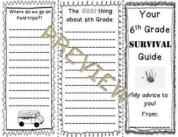 "End of the Year 6th Grade ""Survival"" Brochure"