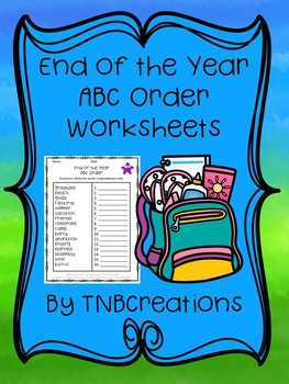 End of the Year ABC Order Worksheets