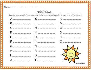 End of the Year ABCs *A classroom reflection activity*
