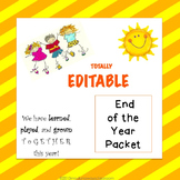 End of the Year Activities-Editable