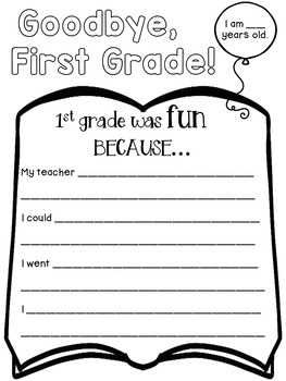 End of the Year Activities for 1st Grade: Memory Book