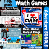 End of the Year Activities 7th 8th 9th Math BUNDLE PBL Project Games Escape Room