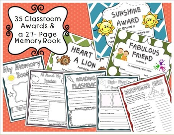 End of the Year Writing Activities, Awards, Memory Book, and Surveys Bundle