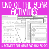 End of the Year Activities Bundle: Middle and High School