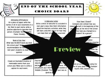 End of the Year CHOICE BOARD BUNDLE Activities Menu Project 19 Pages Rubric