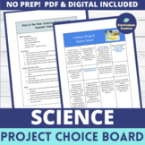 End of the Year Activities Science Project Choice Board
