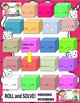 Math Games Grade 1 - 2  Addition  Subtraction Centers