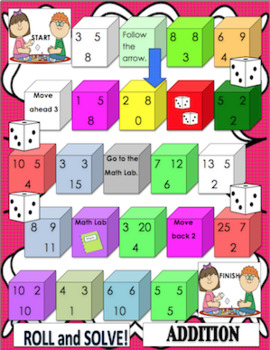 Fall Review Math Games Grade 1 - 2  Addition  Subtraction Centers