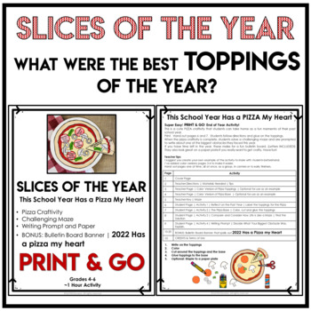 End of the Year Activities | Maze and Writing Prompt | Pizza Craftivity
