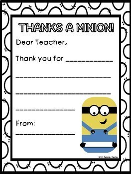 End of the Year Activities- Minions Thank You Teacher Cards