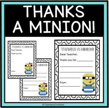 End of the Year- Thanks a Minion Teacher Cards