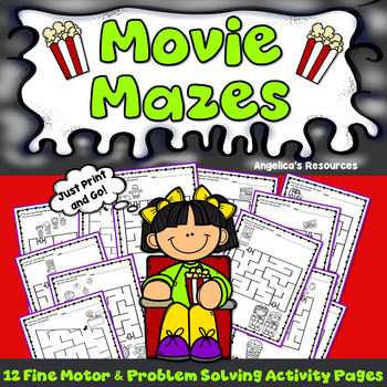 End of the Year Activities: Movie Mazes Fine Motor Skills and Problem Solving