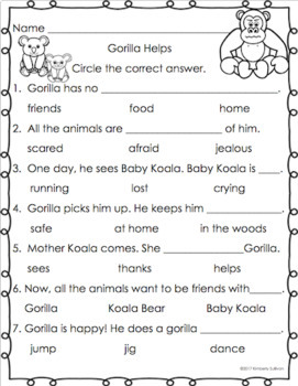 Reading Comprehension passages and questions K-1 Printables No Prep