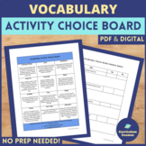 End of the Year Activities Science Vocabulary Project Choice Board