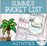 End of the Year Activities - Summer Bucket List Journal Page