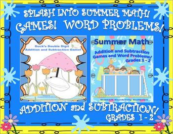Summer Math Games + Word Problems Grades 1 - 2