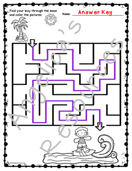 End of the Year Activities: Summer Mazes Fine Motor Skills and Problem Solving