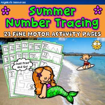 End of the Year Activities : Summer Number Tracing - Fine Motor Printables
