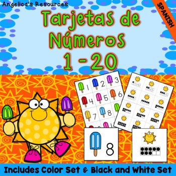 Spanish End of the Year Activities : Tarjetas de numeros - Numbers 1- 20