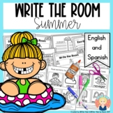 Summer Write the Room in English and Spanish for Kindergar