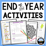 End of the Year Activities for Middle School English Language Arts