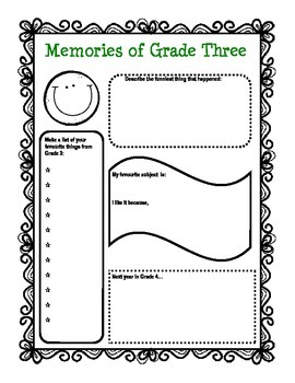 End of the Year Activity: Memories of Grade 3