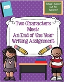 End of the Year Activity: 2 Characters Meet Writing Prompt & Rubric
