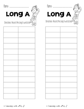 End of the Year Activity: Long A