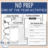 End of the Year Activities - NO PREP upper elementary, mid