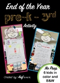 End of the Year Activity/Project Pre-K - 3rd grade - What