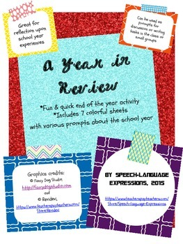 FREE End of the Year Activity Sheets: A Year in Review (organizer, prompts)