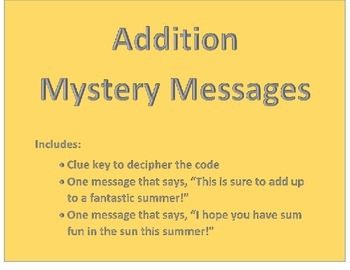 End of the Year Addition Mystery Message