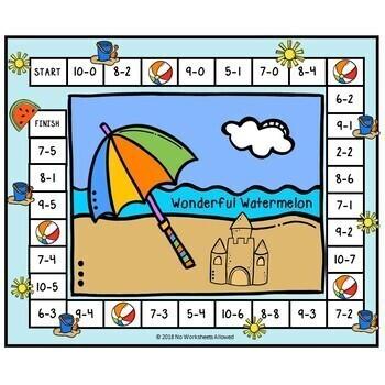 6 Beach Addition & Subtraction Math Games