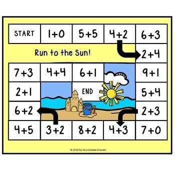 Summer Beach Addition & Subtraction Games Within 10