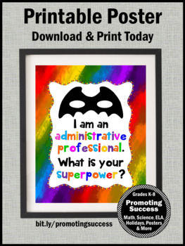 End of the Year Administrative Professional Appreciation Gift Superpower Sign