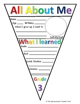 End of the Year All About Me Pennant Banner (B&W and Rainbow)