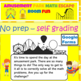 End of the Year Amusement Park Math Digital Escape Room Fun for Google Forms