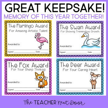 End of the Year Animal Award Certificates for Pre K - 3rd Grade: Editable